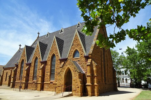 Forbes. The 1877 built Anglican Church with the tower of the 1891 built Town Hall behind it.