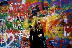 Prague (kunderwet) Tags: yashica yashicat4 terryrichardson prague cech johnlennon wall graffiti mural colourful 35mm film ultramax kodak girl