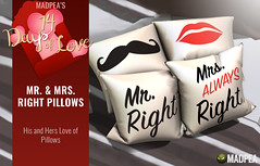 Mr. & Mrs. Right Pillows - 14 Days of Love Calendar Day 5 (MadPea Productions) Tags: madpea madpeas 14days love cupid calendar gifts gift advent valentines decor valentine