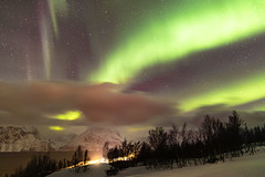 Lyngen Alps (pboolkah) Tags: canon canon5d canon5dmkiv norway alps mpuntains snow aurora stars night sky clouds water trees