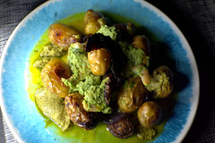 Roast Baby New Potato, King Prawn in a Green Pesto sauce and Red Onion (Tony Worrall) Tags: add tag ©2019tonyworrall images photos photograff things uk england food foodie grub eat eaten taste tasty cook cooked iatethis foodporn foodpictures picturesoffood dish dishes menu plate plated made ingrediants nice flavour foodophile x yummy make tasted meal nutritional freshtaste foodstuff cuisine nourishment nutriments provisions ration refreshment store sustenance fare foodstuffs meals snacks bites chow cookery diet eatable fodder ilobsterit instagram forsale sell buy cost stock roast baby potato king prawn green pesto sauce red onion