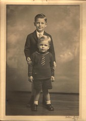 Two Boys Stand for their Portrait (Familypapers) Tags: portrait blackandwhitephoto children babypictures