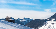 Cold Hut (edgar_t) Tags: alps swiss snow sky blue hut mountains trees shadows