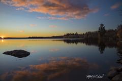 Sunrise At China Lake_27A7171 (Alfred J. Lockwood Photography) Tags: alfredjlockwood nature landscape sunrise reflection clouds sky chinalake vassalboro maine autumn morning autumncolor fallcolor sunburst serene