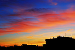 Suburban Rome Sunset (Claudio_R_1973) Tags: sunset building urban silhouette vivid color cloud cirrus landscape nature air atmosphere weather climate rome roma capital city italy italia centralitaly d300 outdoor