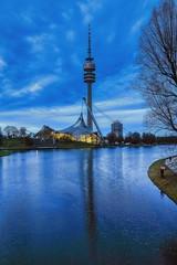 291 Reflexion (orkomedix) Tags: canon eosr rf24105f4l munich bavaria olympia tower water reflexion sky drama outdoor olympiapark