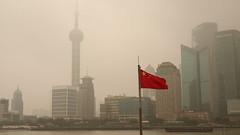 Chinese flag along The Bund, Shanghai (Josh Khaw) Tags: flag bund shanghai china smog pudong