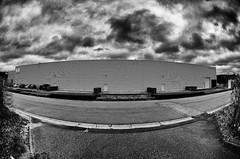 advantages! (kceuppens) Tags: fisheye wide black white bw blackandwhite cloudy clouds cloud wolk wolken kontich belgium belgie gebouw nikkor10528 105 f28 building