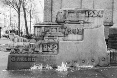 'De ontwikkeling van de locomotief' (PeteMartin) Tags: art bw infrared railway statue train urban amsterdam netherlands nld