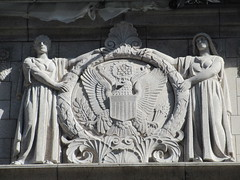Eagle and Figures on Post Office 10th Ave Side 4086 (Brechtbug) Tags: eagle figures james a farley post office 32nd street 9th avenue new york city 03172019 nyc 2016 architecture art building exterior steps stairs stair column columns facade morning march light early day front door area near 34th mail railroad station rail road moynihan train trains us united states postal service built 1912 architect mckim mead white architectural style beauxarts architects