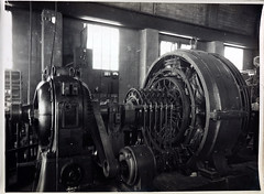 Automatic Substation. B.T.H. Rotary Converter 100 k.w. Pony Motor starter belt driven. Main bearings and windings protected by Thermostatic Relays. (Public Record Office Victoria) Tags: railways train electrification blackandwhite archives victoria substation 1919 machinery rotary converter motor starter belt thermostat