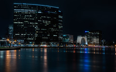 lakeside at the essex (pbo31) Tags: bayarea eastbay alamedacounty nikon d810 color night dark black rain wet storm boury pbo31 urban city march 2019 oakland lakemerritt skyline over lightstream motion traffic roadway reflection church archutecture contemporary