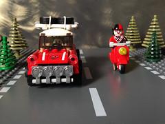 Mr. J and Harley on the road again (bricksfreaks) Tags: bricksfreaks bricks gotham dc dccomics custom comics customlego customminifigures customfigures minifigures minifigs lego superheroes supervillains figures freaks joker harleyquinn vespa mini minicooper road