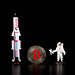 Astronaut and space ship with silver Bitcoin