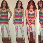 20180427 1928 - fashion show - Clio - rainbow dress, rainbow tie-dye leggings - 49btr-fbul-38-2952-12 (quadtych) thumbnail