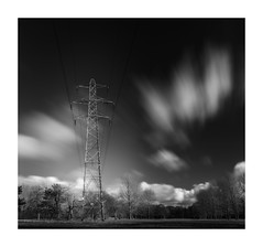 Just A Pylon (Rob Pitt) Tags: pylon longexposure polarising filter 10 stop sony a7rii clouds 1740 blackwhite monography wirral cheshire golf course ellesmere port