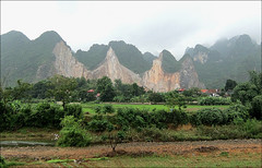 Moving Mountains (Mary Faith.) Tags: landscape hills mountains vietnam north village crops stream palms rice engineering mist rock ducks