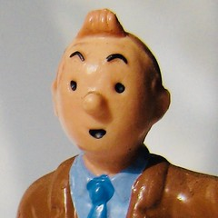 Tintin Portrait 4522 (Brechtbug) Tags: tintin plastic figure head 2010 snowy dog comics cartoon character by herge comic strip action from belgium french toy toys statue sculpture tin captain haddock run running trench coat