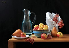 Choosing   Well (Esther Spektor - Thanks for 16+millions views..) Tags: silllife naturemorte bodegon naturezamotra stilleben naturamorta composition creativephotography art table food fruit apple pear berry bowl pitcher plate bag cluster water ceramics glass paper wooden ambientlight reflection white blue red yellow orange brown black estherspektor canon