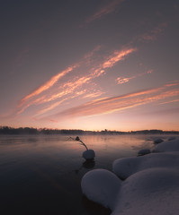 and it was a cold morning (petrisalonen) Tags: landscape winter freezing cold suomi finland imatra vuoksi joki river sunset sunrise maisema sun sunlight light ice crow reflection sky clouds mist fog morning orange yellow float white snow nature varis