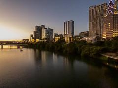 Downtown Austin Sunset (joncutrer) Tags: austin austintexas downtownaustin sunset skyline dusk warm water river buildings cityscape atx