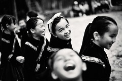 Laughing local girls (snowpine) Tags: people street streetphotography candid girls miao guizhou china dancing happy laughing smile bw blackandwhite blackwhite
