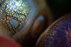 Iridescent Speckled Glass (San Francisco Gal) Tags: macromondays picktwo macro iridescent glass speckled murano egg