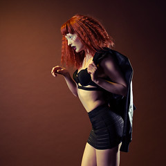 Laura New (Greg Gardner) Tags: lauranewmyers leeloo redhead leather punk skirt beauty fashion glamour