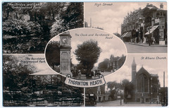 Thornton Heath - Multiple Images Prior to 1929 (pepandtim) Tags: postcard old early nostalgia nostalgic bridge lake grangewood park band stand bandstand high street st albans church clock clocktower parchmore road car thornton heath multiple images 1929 real photograph 21061929 35thm95 willmer howard worthing mother letter sanderstead picnic ethel reigate may broadway babies alice white premiered central theatre new york city