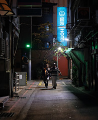 """""""have a beautiful night"""" (hugo poon - one day in my life) Tags: xt20 35mm taipei taiwan ximending citynight lane alley sign colours lights dark inn companions chinesenewyear goodnight"""