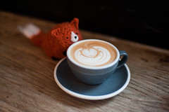 Day 5 / Y8. (evilibby) Tags: foxyloxy coffee flatwhite latteart caffeine beanhop earlsfield wandsworth fox foxtoy toy project365