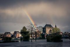 Double Fantasy (Gilderic Photography) Tags: guillemins liege rainbow rain belgium city urban sky clouds house trees arcenciel