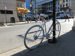 2019 February Ghost bike death on 45th street NYC 4216 (Brechtbug) Tags: ghost bike death 45th street green light pole tribute bicycle accident victim sidewalks flowers stickers note pavement new york city 2019 nyc memorial rip wings art memorials mark sites of victims who were killed in traffic february 02042019 midtown manhattan 72 year old man hitandrun monday morning the incident was reported eighth avenue west 553 am responding officers said they found joseph chiam