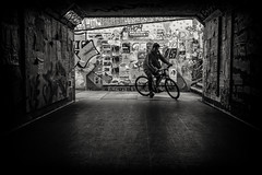 biker (Daz Smith) Tags: dazsmith fujifilmxt3 xt3 fuji city streetphotography people candid portrait citylife thecity urban streets uk monochrome blancoynegro blackandwhite mono silhouette bike cyclist bristol graffiti posters man
