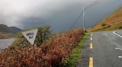 géill slí (RoystonVasey) Tags: canon eos m 1855mm stm zoom ireland mayo loch na fooey lough nafooey r300 l1601 road junction rain storm sign