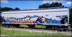 resa (timetomakethepasta) Tags: resa freight train graffiti art up union pacific grainer hopper dmise paveo viagra boyz