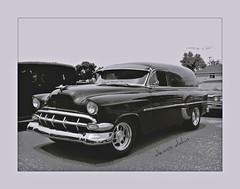 Sedan Delivery (novice09) Tags: backtothefifties carshow chevrolet 1954 sedandelivery streetrod blackandwhite monochrome photoscape ipiccy