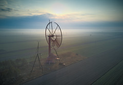 abandoned windmill (jkatanowski) Tags: drone forgotten abandoned destroyed sunrise fog foggy urbex urban exploration europe poland windmill machine machinery sun clouds outdoor landscape hdr