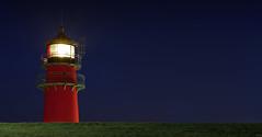Büsum Lighthouse (FH   Photography) Tags: büsum deutschland norddeutschland deich leuchtturm schleswigholstein wahrzeichen nachts abends leuchten seezeichen europa architektur turm licht gras himmel blaue stunde