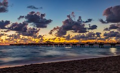 Lauderdale-by-the-Sea pier (_VicRos_) Tags: southflorida florida seascape ocean sand longexposure sky clouds fishingpier sunrise lauderdalebythesea fortlauderdale pier beach
