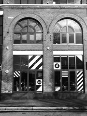 Former Dog Track Restaurant, Ormeau Avenue, Belfast (John D McDonald) Tags: monochrome mono bw blackandwhite blackwhite grey greyscale strip stripes striped stripy pattern patterns stripedpattern stripypattern window windows iphone iphone7plus appleiphone appleiphone7plus belfast linenquarter belfastlinenquarter linenquarterbelfast ormeauavenue armaghhouse dogtrack arch archedwindow archedwindows northernireland ni ulster geotagged camaïeu monocromático 单色 einfarbig monocromo monokrom monochroom yksivärinen monacrómach monocromatica monocromatico monochromia monocromática monocroma svartvit