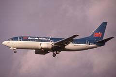 G-OBMA Glasgow 4-1-1992 (Plane Buddy) Tags: gobma boeing 737 bma british midland gla glasgow