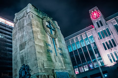 Cenotaph, Bristol, UK (KSAG Photography) Tags: memorial cenotaph bristol night clock neon city urban uk unitedkingdom england britain february 2019 winter nightphotography sword europe nikon wideangle building architecture