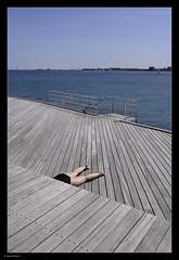 _7100814 mf copy 01 (Michael Fleischer) Tags: hellerup summer light curves pattern waterfront sky blue abstract people wood bathing bridge lines legs nikon 1224mm f40 ed sea pier