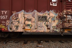 BIG5 (TheGraffitiHunters) Tags: graffiti graff spray paint street art colorful boxcar freight train tracks benching benched big big5 5