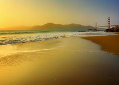 The Gold Rush (Gio_guarda_le_stelle) Tags: sf golden light landscape seaside evening sanfrancisco bridge sunset water ocean waves sun warm beauty sand walking 4