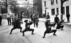 Sapphire Dance Line at the Sunnyside/Woodside St. Pat's For All Parade (neilsonabeel) Tags: nikonn90s nikon nikkor film analogue blackandwhite queens newyorkcity stpatsforall parade