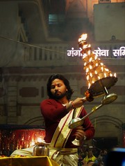 varanasi 2019 (gerben more) Tags: aarti varanasi benares man beard youngman priest ceremony ritual india fire