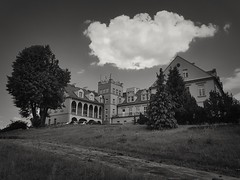 Palace on the hill (wojciechpolewski) Tags: palace korfantów poland polska wpolewski hill trees nature landscape blackandwhite blackandwhitenature blackwhite blanconegro photos photo blindcolour colourblind noncolour
