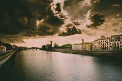 Pisa (_shadesoflife) Tags: pisa arno river italy dramatic sepia
